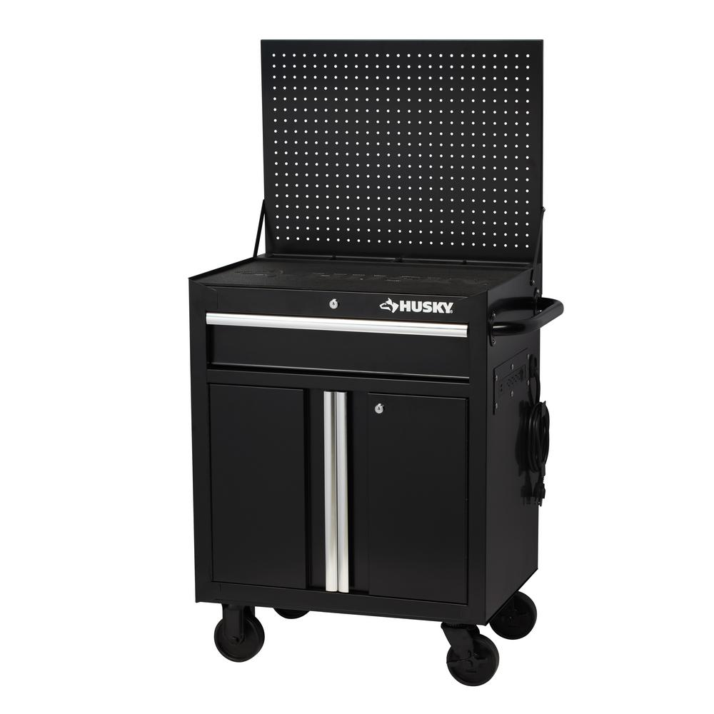 Husky 27 In W 1 Drawer 2 Door Tool Chest Rolling Cabinet Gloss Black With Flip Up Pegboard