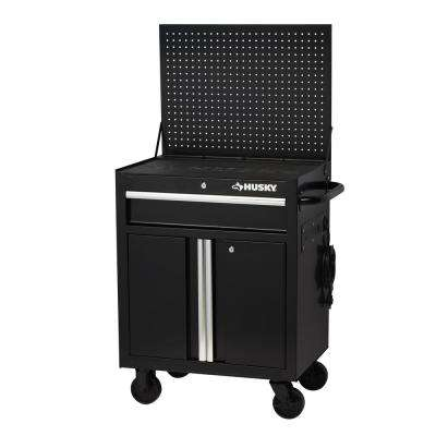27 in. W 19 in. D 1-Drawer 2-Door Rolling Tool Cabinet with Flip-Up Pegboard in Black