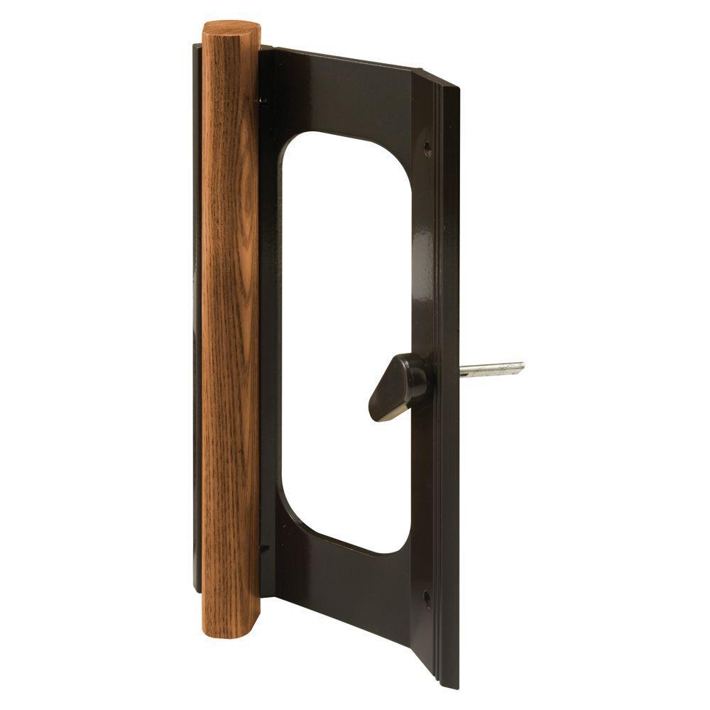 Prime-Line Wood Insert Bronze Finish Rusco Sliding Door Handle Set