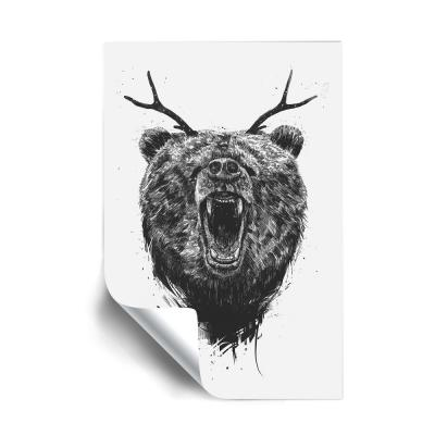 """""""Angry bear with antlers"""" Animals Removable Wall Mural"""