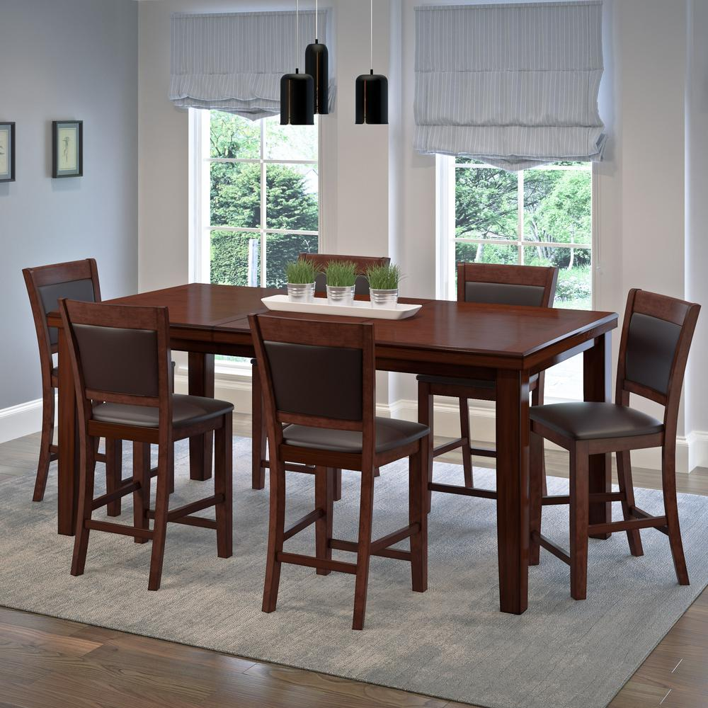 7-Piece Warm Brown Counter Height Extendable Dining Set with Chocolate Brown