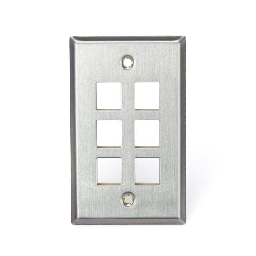 1-Gang QuickPort Standard Size 6-Port Wallplate, Stainless Steel