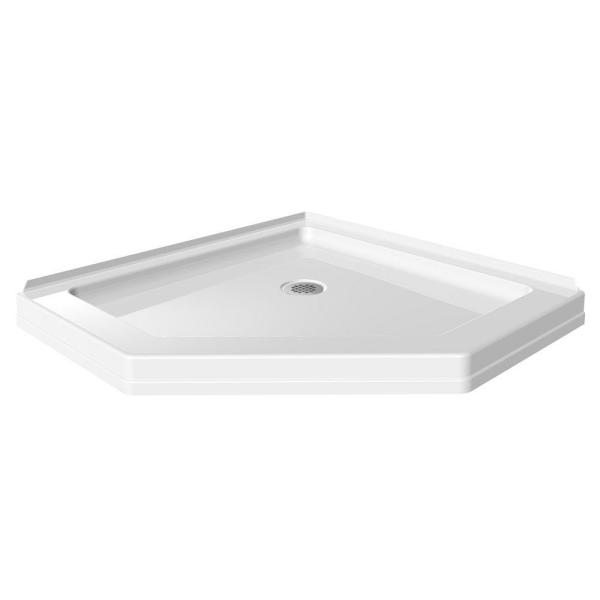 38-1/2 in. x 38-1/2 in. Neo-Angle Single Threshold Corner Shower Base in White