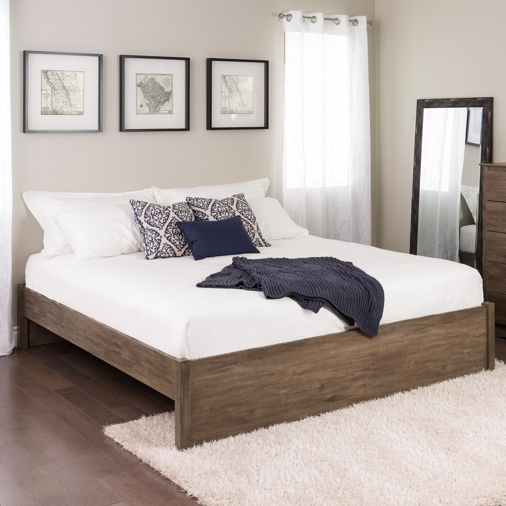 Prepac select drifted gray king 4 post platform bed