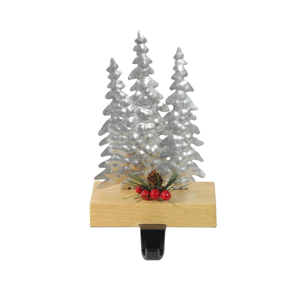 Christmas Tree Stocking Holder.Northlight 8 5 In Galvanized Metal And Wood Tree Shaped Christmas Stocking Holder