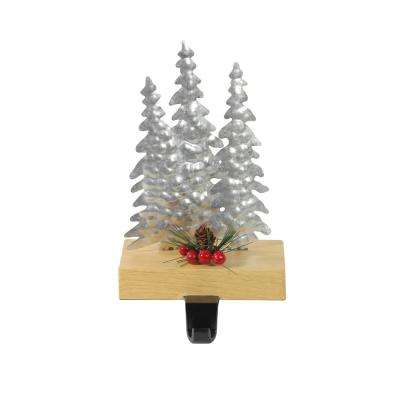8.5 in. Galvanized Metal and Wood Tree Shaped Christmas Stocking Holder