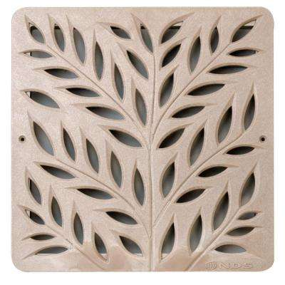 12 in. Plastic Square Drainage Catch Basin Grate with Botanical Design in Sand