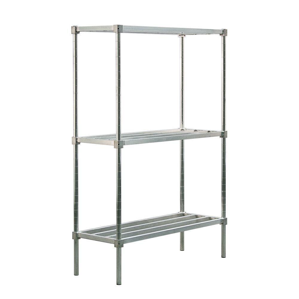 New Age Industrial 3-Shelf Aluminum Heavy Duty Style Adjustable Shelving