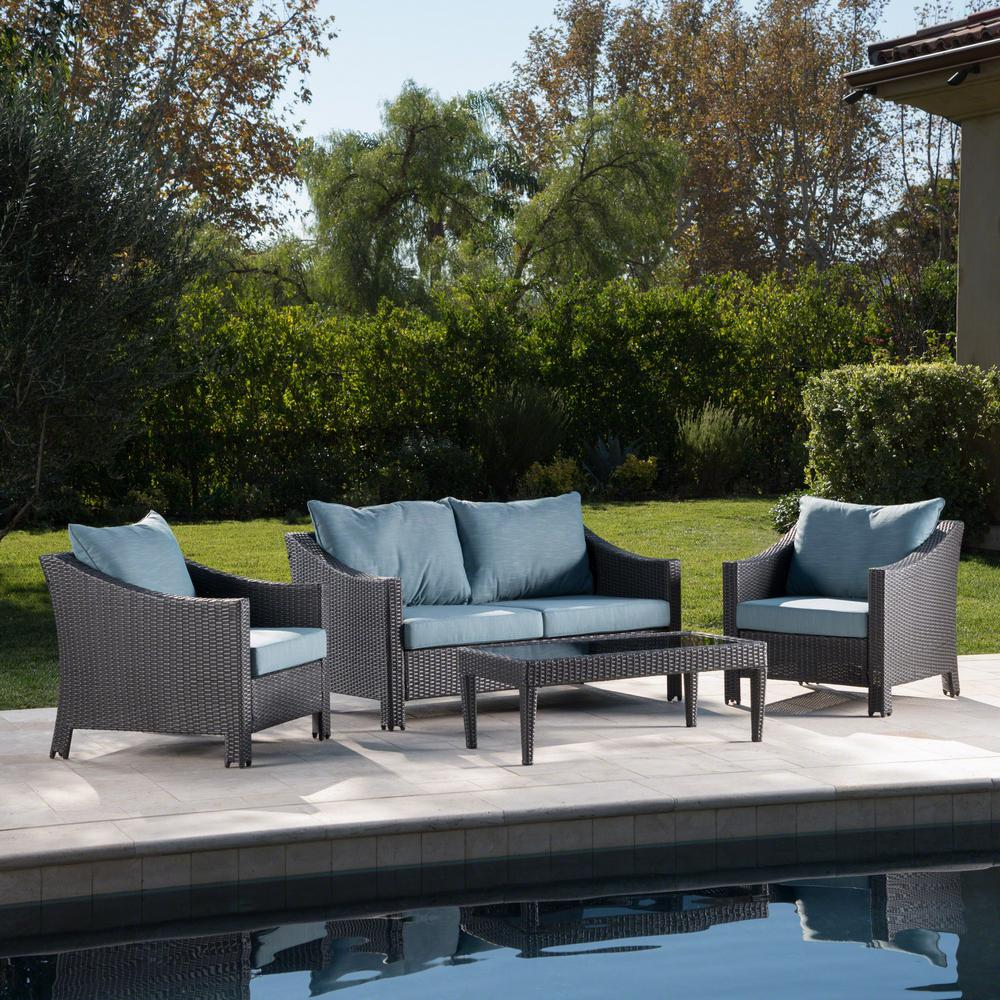 Wicker Patio Conversation Set with Teal Cushions