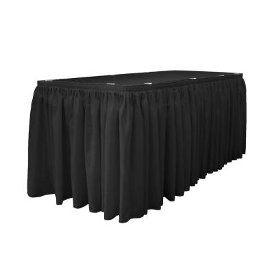14 ft. x 29 in. Long Black Polyester Poplin Table Skirt with 10 L-Clips