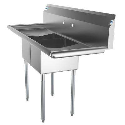 Freestanding Stainless Steel 56 in. 2-Hole Double Bowl Commercial Kitchen Sink