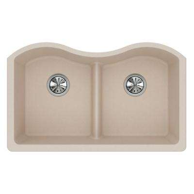 Quartz Classic Undermount Composite 33 in. Rounded 50/50 Double Bowl Kitchen Sink in Putty
