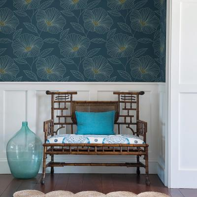56.4 sq. ft. Mythic Blue Floral