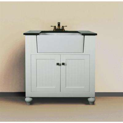 31 in. W x 19 in. D x 38 in. H Vanity in White with Granite Vanity Top in Black with White Basin