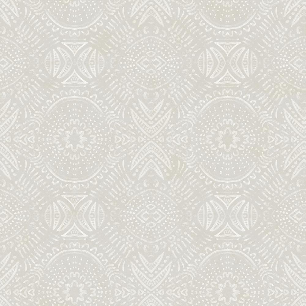 Java Light Grey Medallion Light Grey Wallpaper Sample