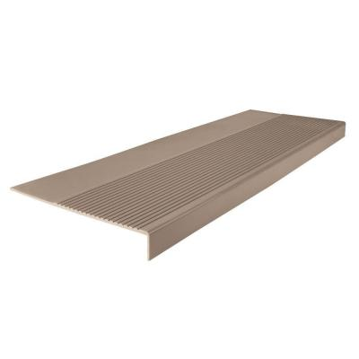 Light Duty Ribbed Design Sandstone 12-1/4 in. x 48 in. Rubber Square Nose Stair Tread