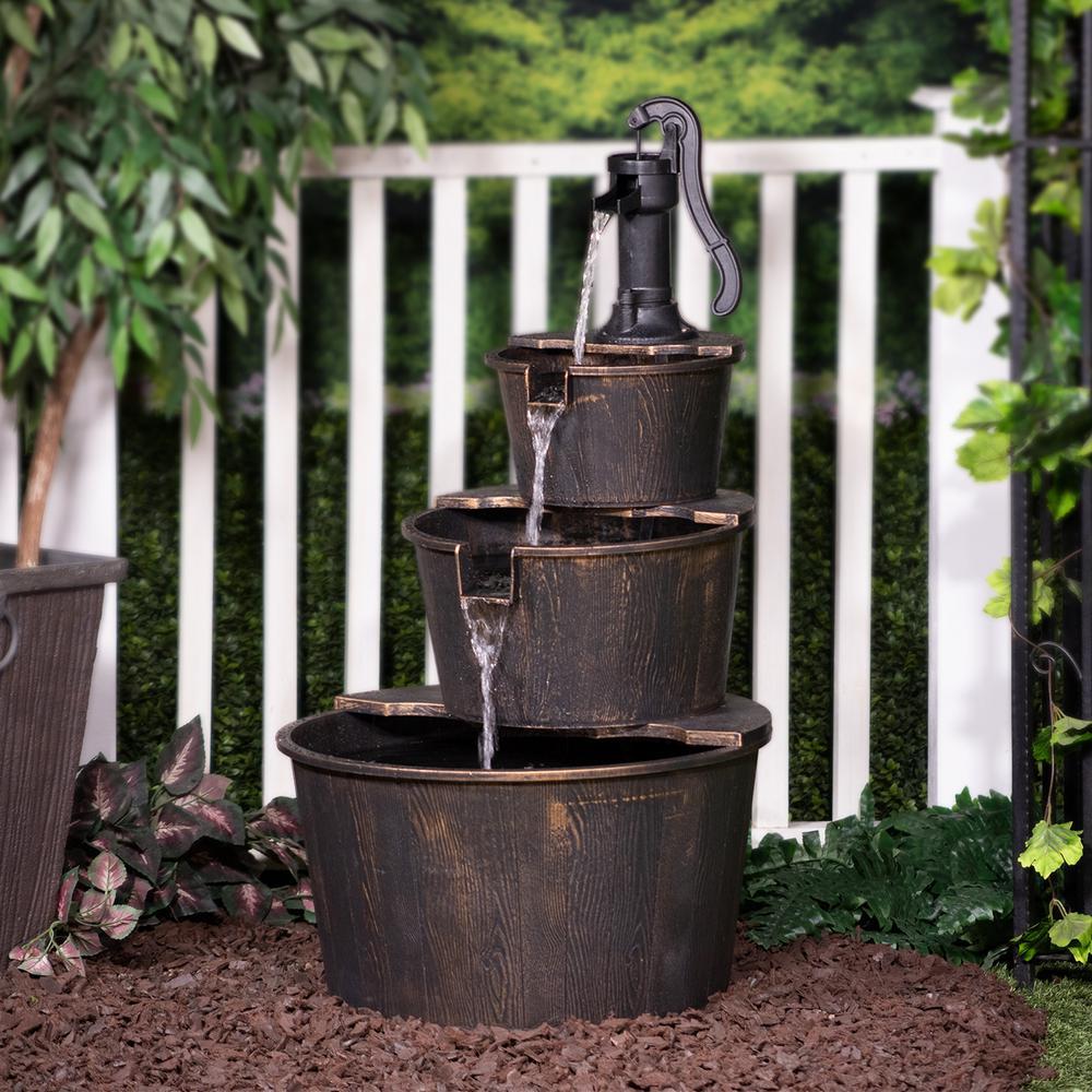 40 in. Tall Outdoor 3-Tier Barrel Pump Waterfall Fountain, Brown