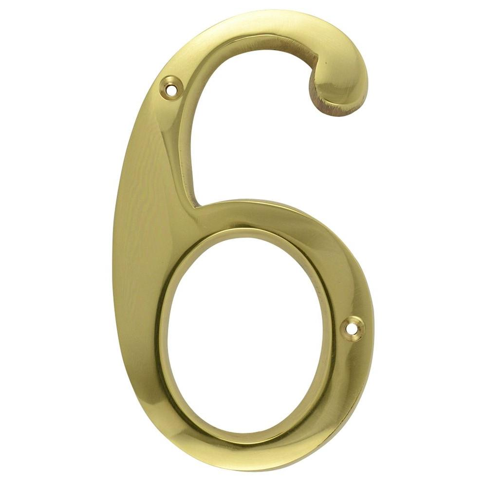Copper Mountain Hardware 6 in. Polished Brass House Number 6