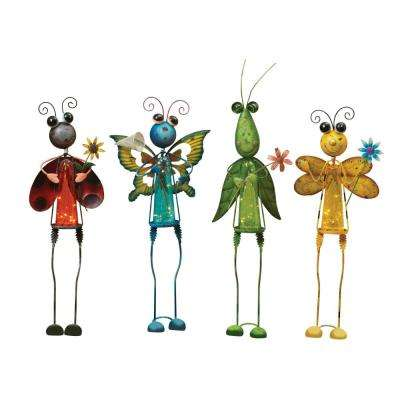 28 in. Tall Solar Powered Garden Insect Figurines (4-Set)