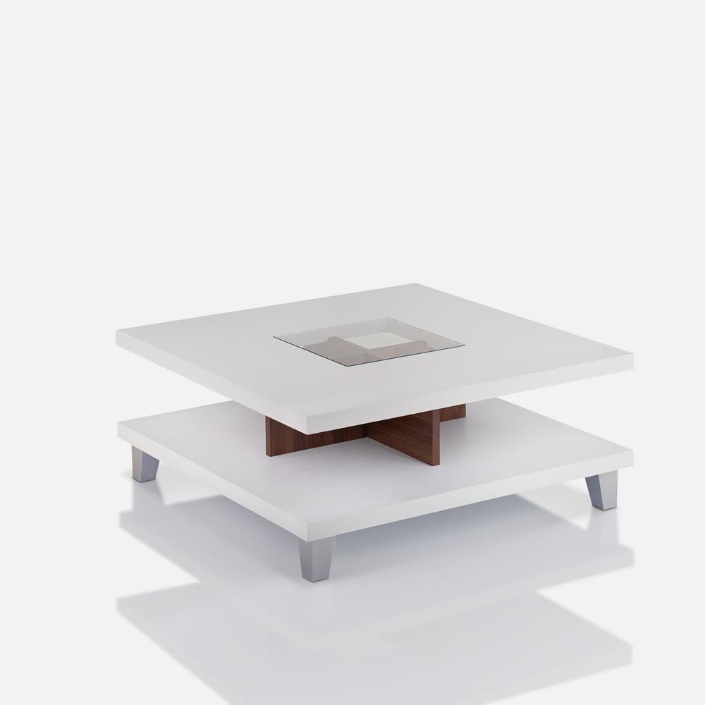 Jessa White Glass Coffee Table