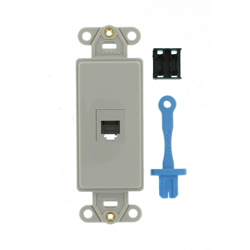 Decora 6P6C Insert Kit Includes One Insert and USOC Jack, Gray