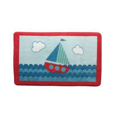 "Ahoy Mutil 20.50 in. x 34.25 in. ""Sailboat"" Memory Foam Children's Bath Mat"
