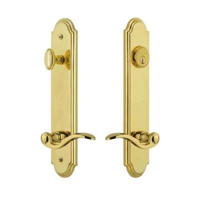 Arc Tall Plate 2-3/4 in. Backset Lifetime Brass Door Handleset with Bellagio Door Lever