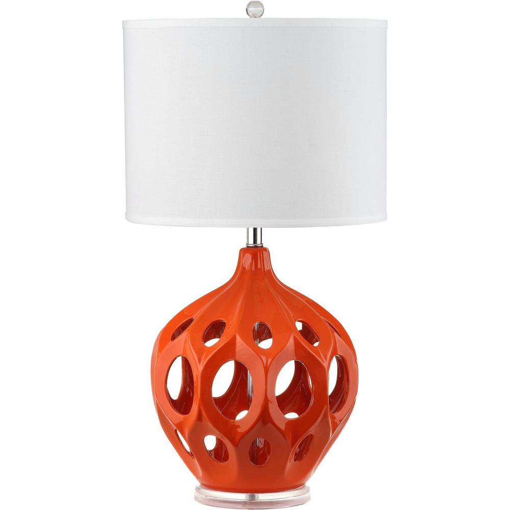 Safavieh regina 29 in orange ceramic table lamp lit4040e the home orange ceramic table lamp mozeypictures Image collections