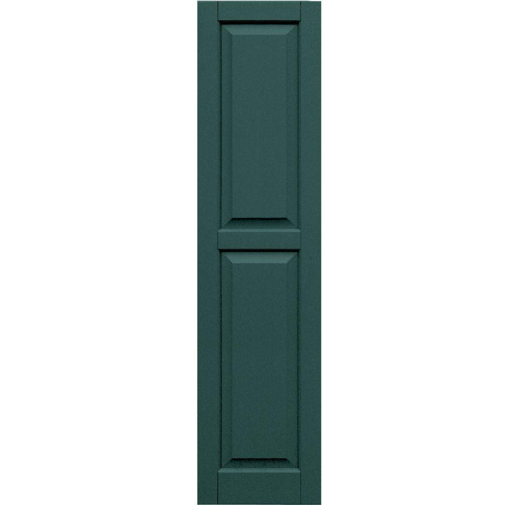 Winworks Wood Composite 15 in. x 61 in. Raised Panel Shutters Pair #633 Forest Green