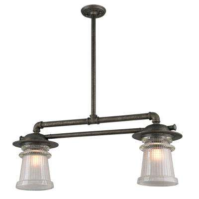 Pearl Street 2-Light Charred Zinc Outdoor Pendant