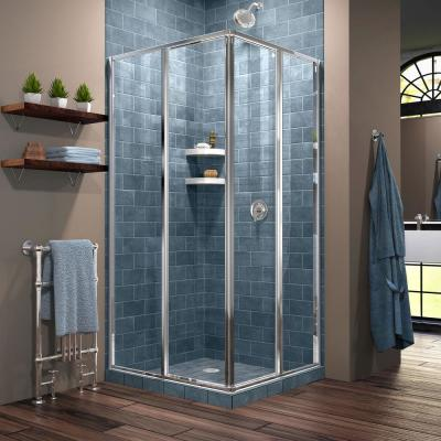 Cornerview 40-1/2 in. D x 40-1/2 in. W x 72 in. H Framed Corner Sliding Shower Enclosure in Chrome