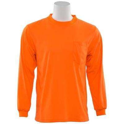 9602 L Non-ANSI Short Sleeve Hi Viz Orange Unisex Poly Jersey T-Shirt