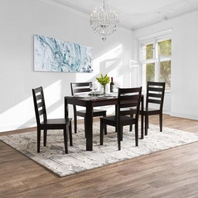 Memphis 5-Piece Mahogany Solid Hardwood Dining Table and Chair Set