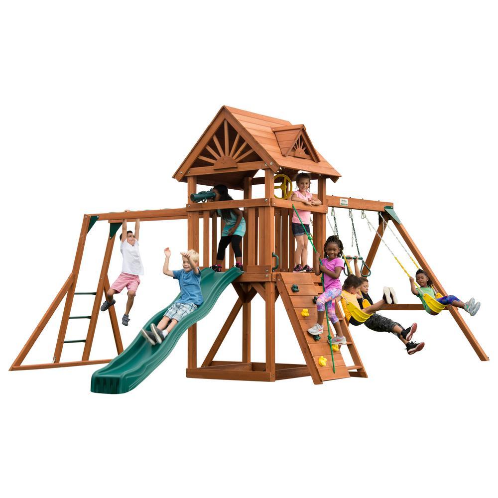 Swing-N-Slide Playsets DIY Sky Tower Plus Wood Complete Swing Set with Monkey Bars