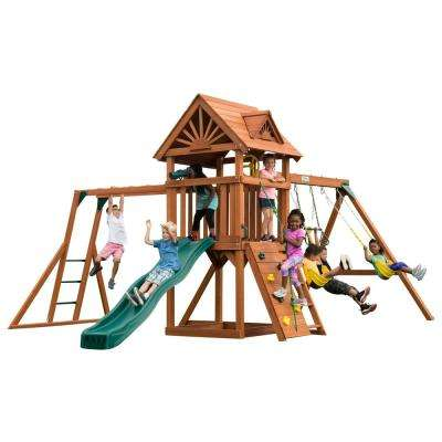 Installed Sky Tower Plus Wood Complete Playset with Monkey Bars