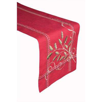 Holly Tidings 100% Polyester Table Runner