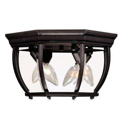 3-Light Black Outdoor Flush Mount with Clear Beveled Glass