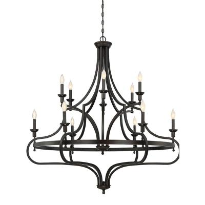 12-Light English Bronze Chandelier