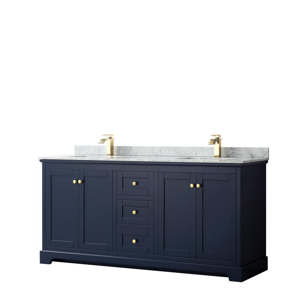 Wyndham Collection Avery 72 in. W x 22 in. D Bathroom Vanity in Dark Blue with Marble Vanity Top in White Carrara with White Basins