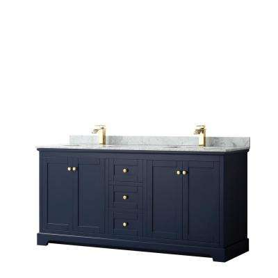 Avery 72 in. W x 22 in. D Bathroom Vanity in Dark Blue with Marble Vanity Top in White Carrara with White Basins