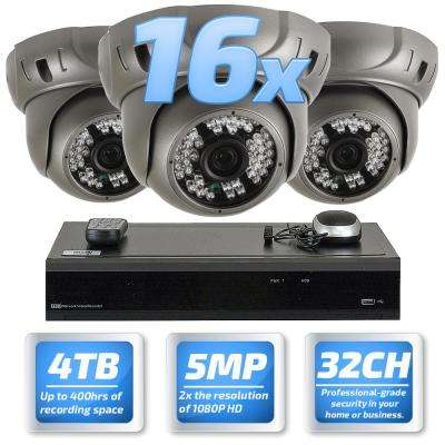 32-Channel 5MP DVR 4TB HDD Surveillance System with 16 Wired IP Cameras Vandal Proof 3.6 mm Lens 130 ft. IR