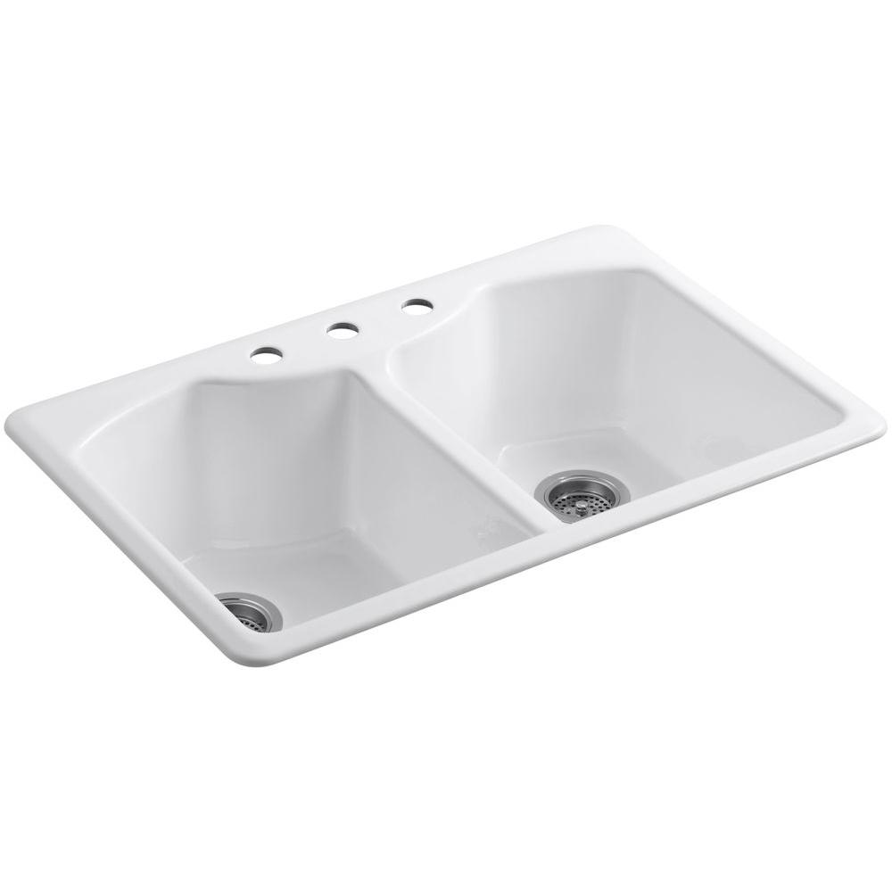KOHLER Bellegrove Drop-In Cast-Iron 33 in. 3-Hole Double Bowl Kitchen Sink with Accessories in White