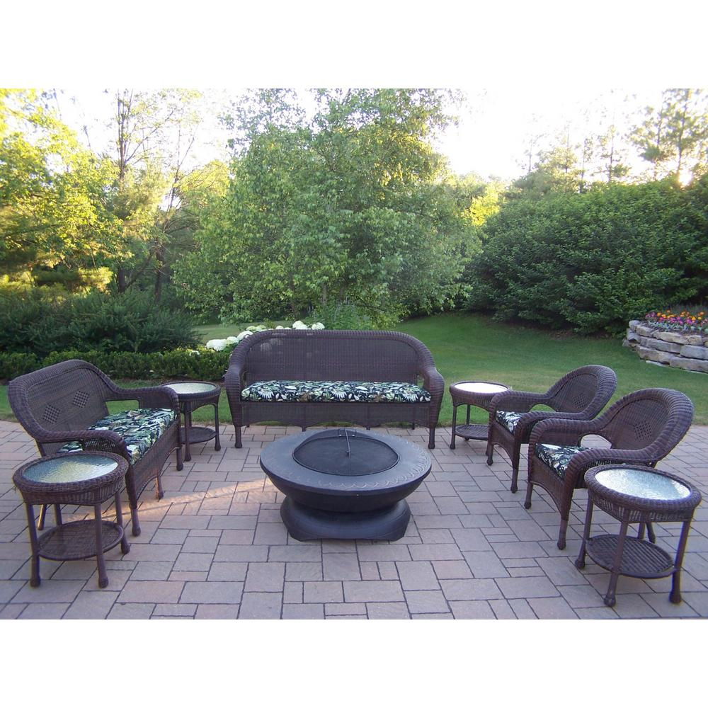 Coffee 9-Piece Wicker Patio Fire Pit Seating Set with Black Floral