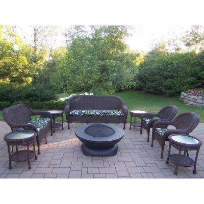 Coffee 9-Piece Wicker Patio Fire Pit Seating Set with Black Floral Cushions