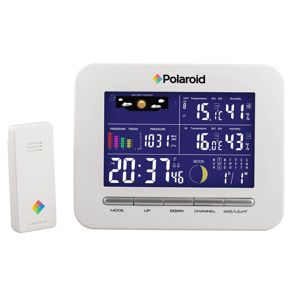 Polaroid White Wireless Weather Station Clock-PDC001 - The Home Depot