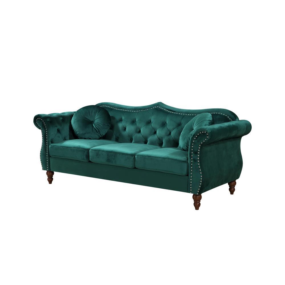 Bellbrook Green Classic Nailhead Chesterfield Sofa