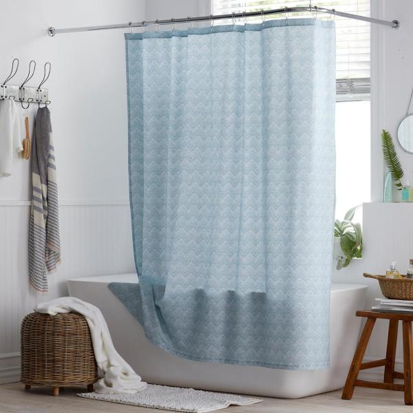 Cstudio Home by The Company Store Herringbone 72 in. Organic Cotton Percale Shower Curtain in Steel Blue