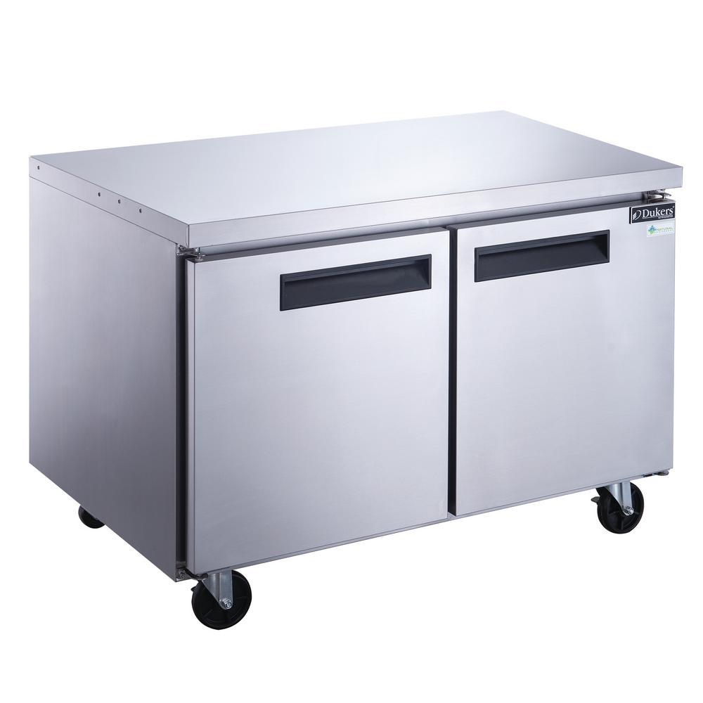 60 in. W 15.5 cu. ft. 2-Door Undercounter Commercial Refrigerator in Stainless Steel