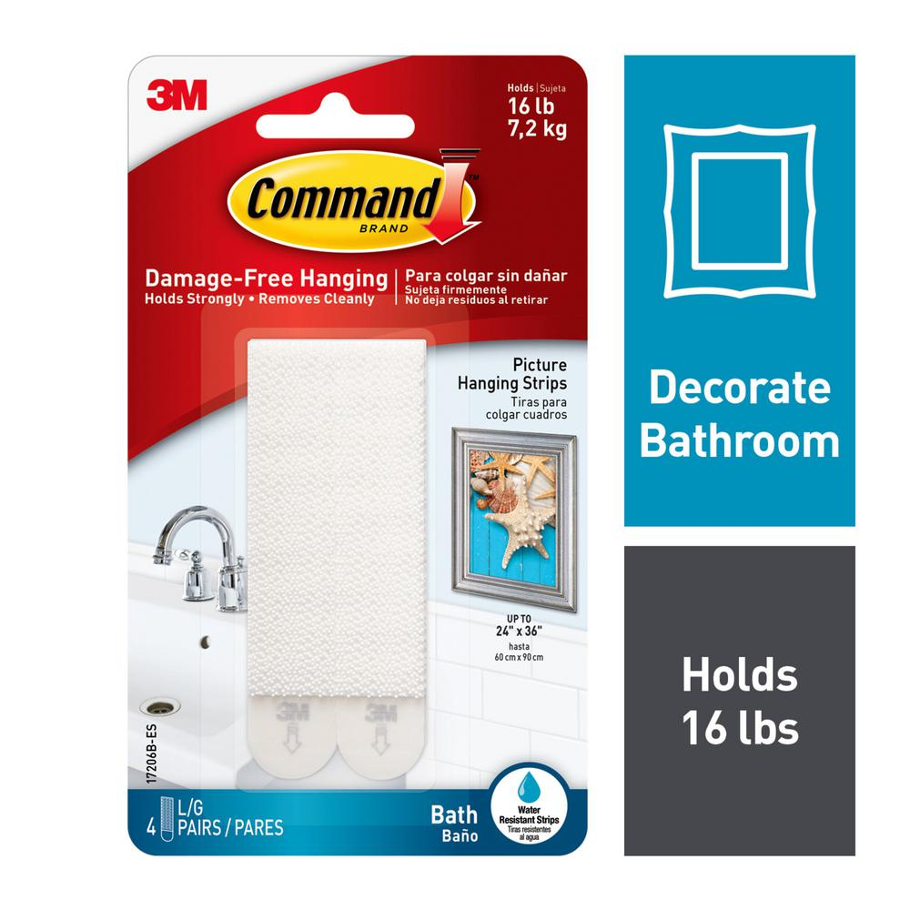 88479511f0 Large Bath Picture Hanging Water Resistant Refill Strips (4 Pairs of Strips)