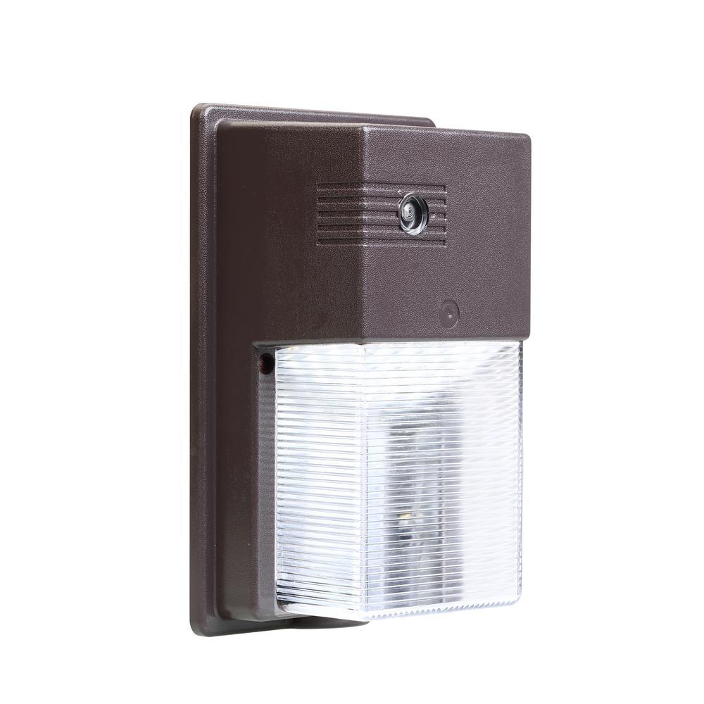 Bronze 800-Lumen Day Light Outdoor Integrated LED Wall Pack Light
